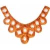 Motif Sequin/beads 27x11.5cm U Shape with crystal stones Orange